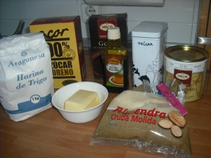 Ingredientes para galletas de almendra
